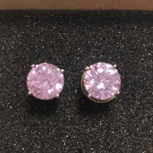 JTV Amethyst Silver Stud Earrings
